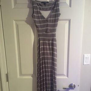 Gray and white striped maxi with open back NWOT
